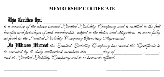 Stock Certificate Wording Page – Certificate Wording