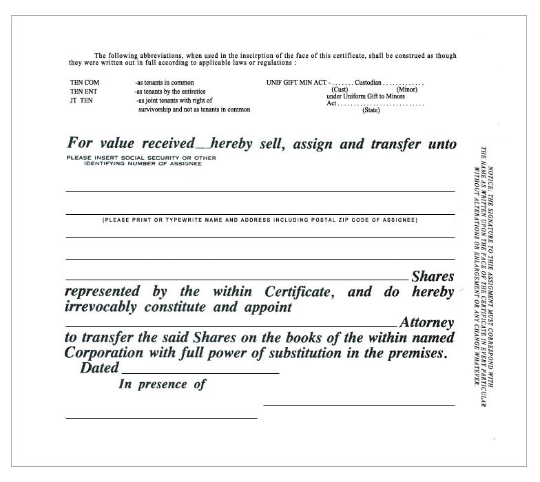 Standard Wording Stock Certificates