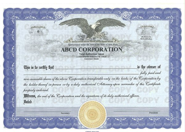 Copy Protected Stock Certificates
