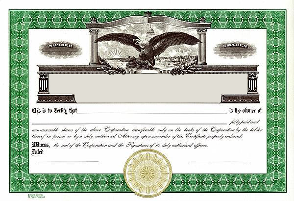 Stock CertificatesLlc Certificates Share Certificates Goes
