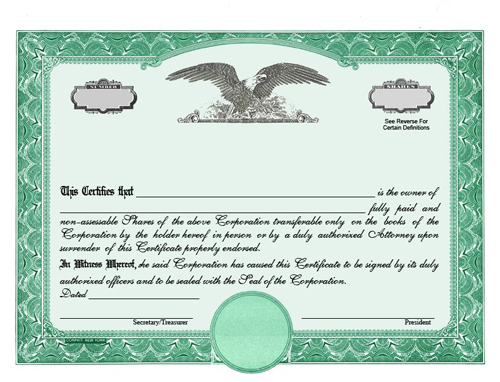 Custom Certificates Eagle C Single Class Corporation – Blank Stock Certificate Template