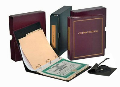 Black Binder Slipcase Corpkit Customized Thriftkit Corporate Kit with Printed Minutes /& Bylaws//Operating agreement Certificates with Stubs- Corporate Seal Corporation