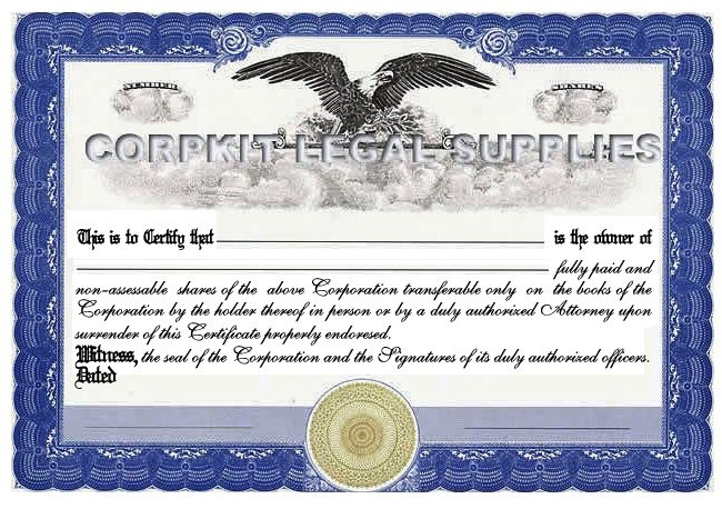 Personalize Stock Certificates Single Class Corporation :: Print